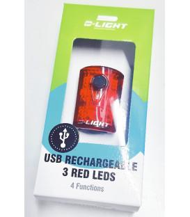 LUZ D-LIGHT TRASERA 4FUN 3LEDS ULTRAB RECARGABLE